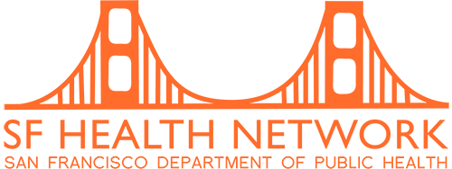 San Francisco Health Network Logo in orange with Bridge