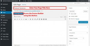 Screenshot: Add page title and access the Fusion Builder