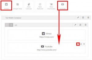Screenshot: adding a Youtube builder element