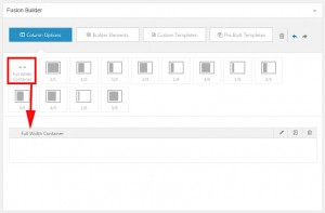 Screenshot: Adding fusion builder containers